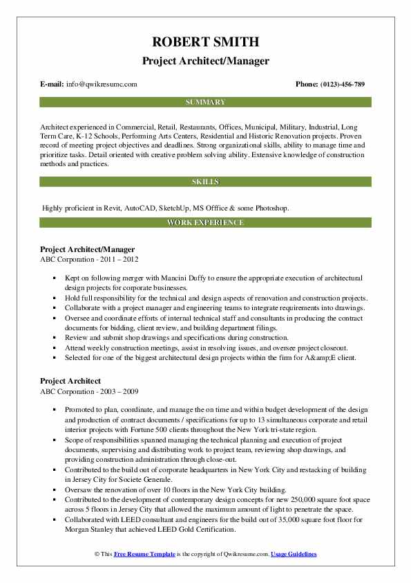 Project Architect/Manager Resume Format