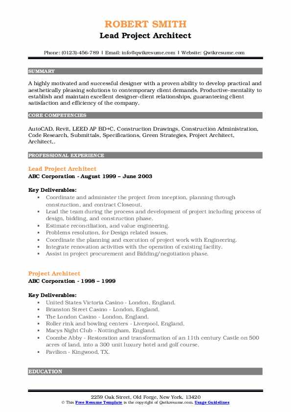 Lead Project Architect Resume Format