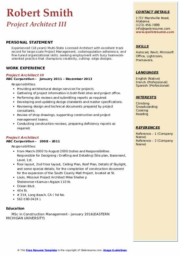 project architect resume samples