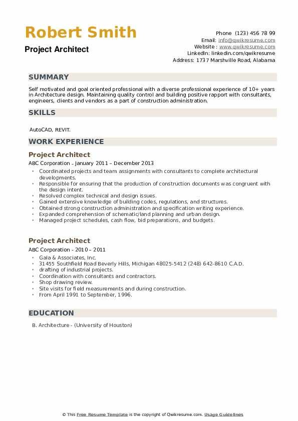 Project Architect Resume example