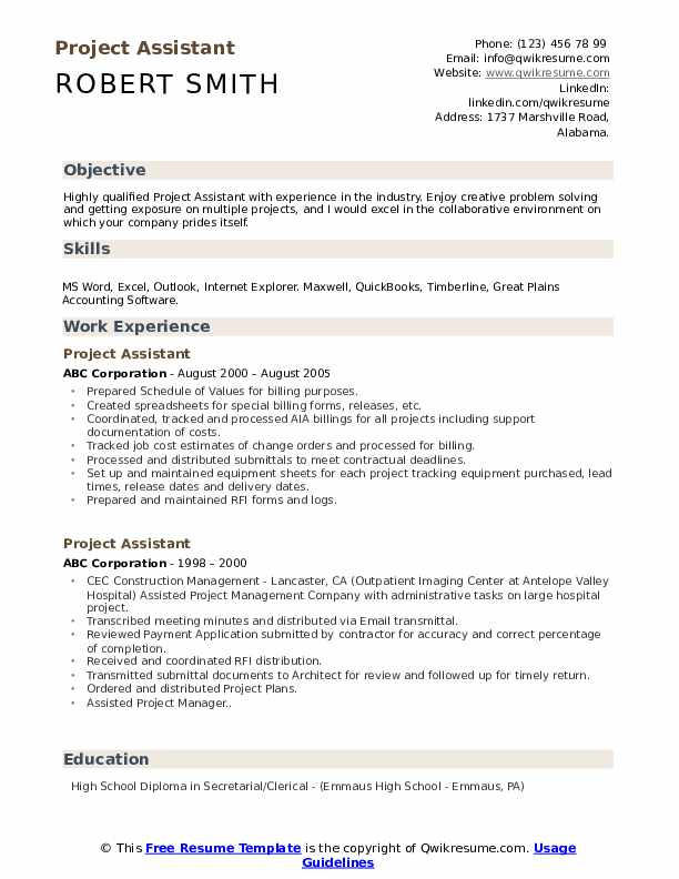 Project Assistant Resume Template
