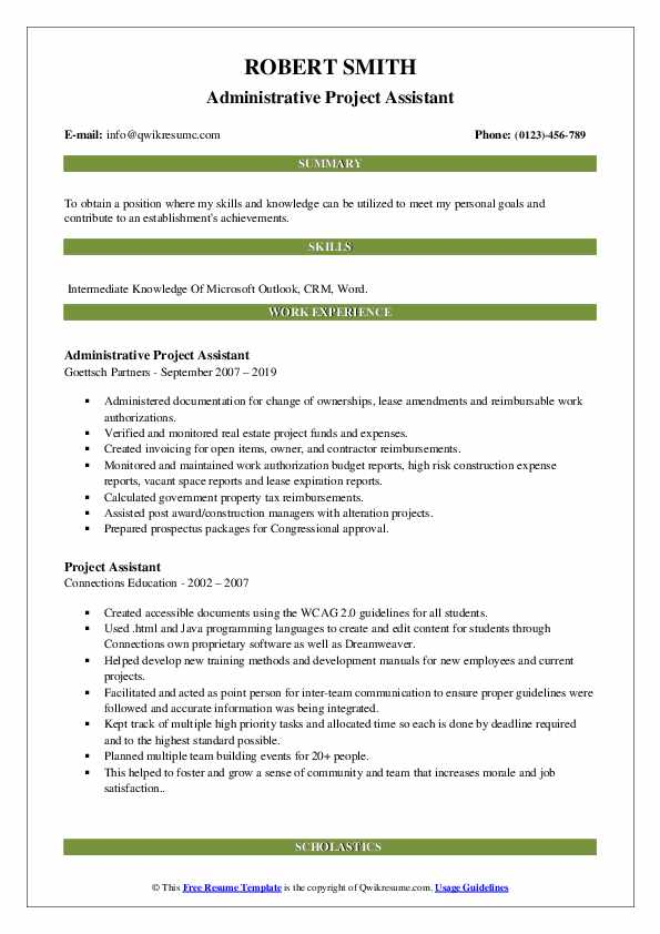 Administrative Project Assistant Resume Model