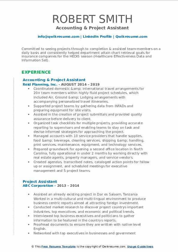 Accounting & Project Assistant Resume Format