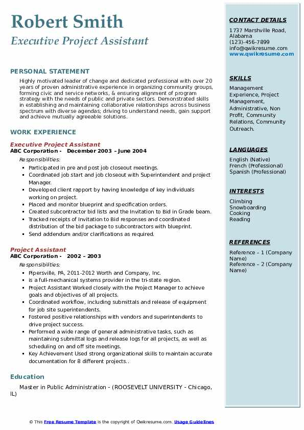 Executive Project Assistant Resume Format