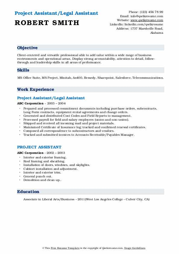 Project Assistant Resume Samples | QwikResume