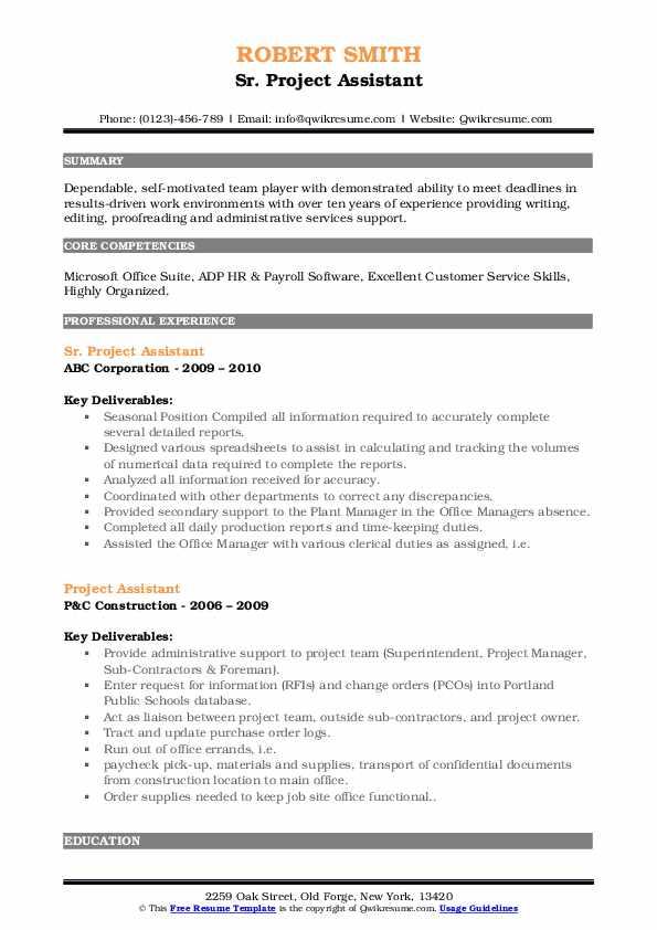 Sr. Project Assistant Resume Model