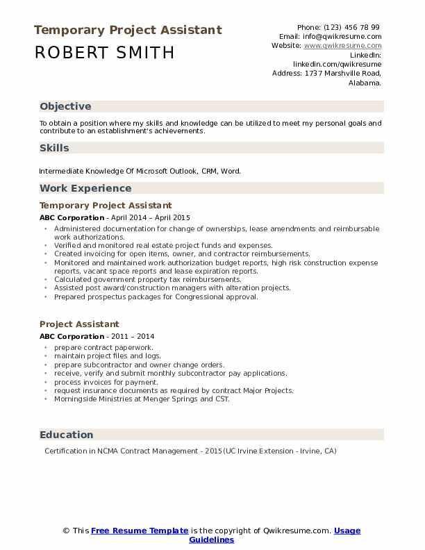 Temporary Project Assistant Resume Example