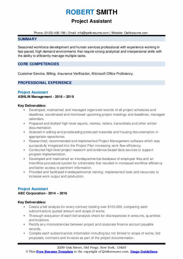 Project Assistant Resume example