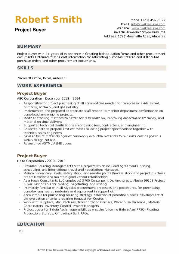 Project Buyer Resume example