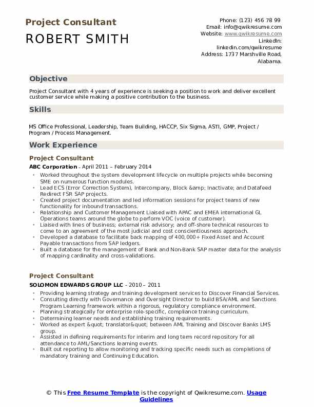 Project Consultant Resume Sample