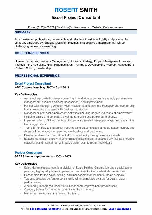 Excel Project Consultant Resume Model