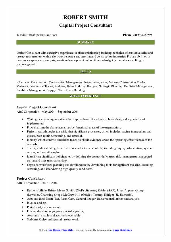 Capital Project Consultant Resume Example