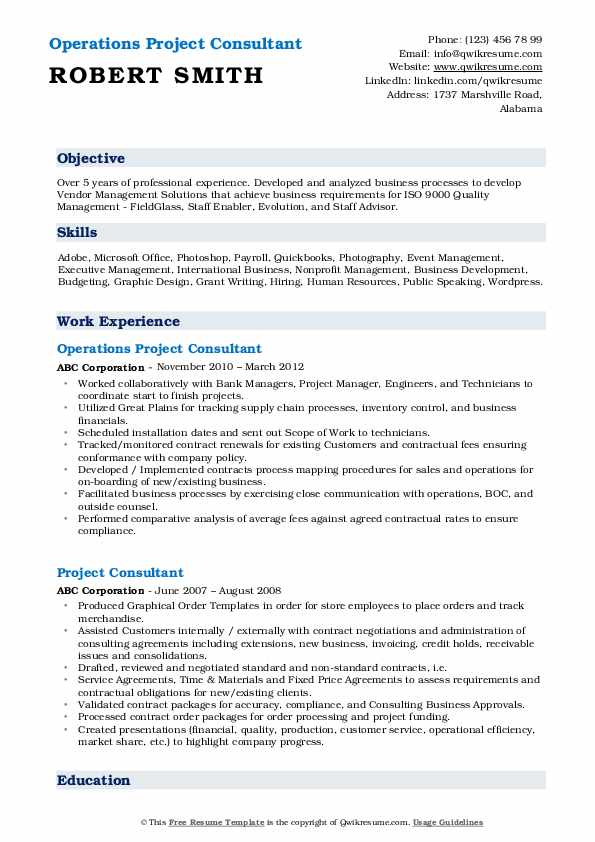 Operations Project Consultant Resume Example