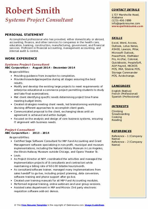 Systems Project Consultant Resume Format