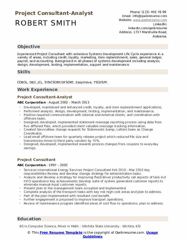 Project Consultant-Analyst Resume Sample