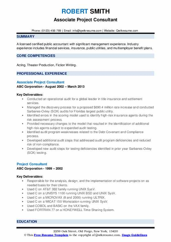Associate Project Consultant Resume Example