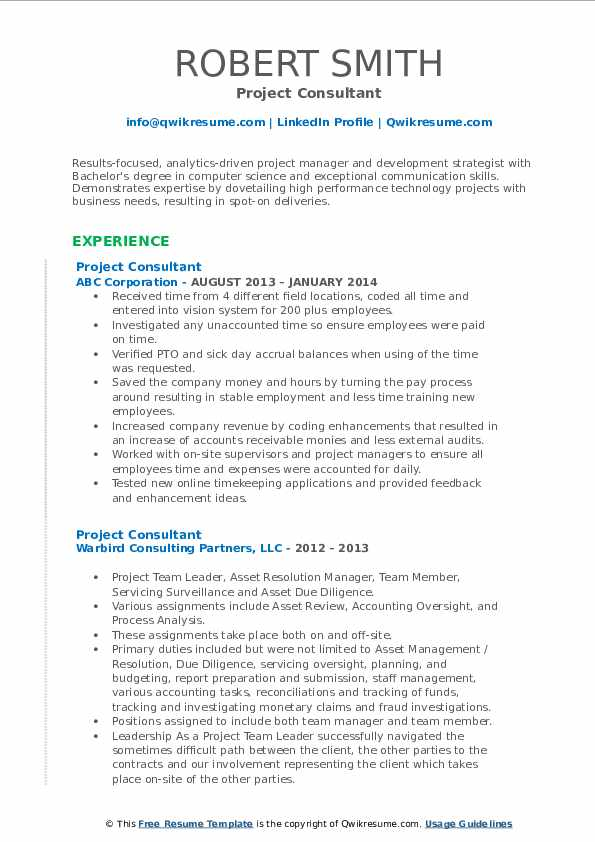 Project Consultant Resume example