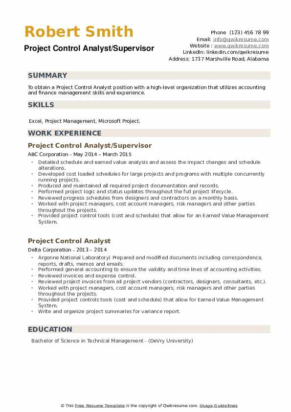 Project Control Analyst Resume example