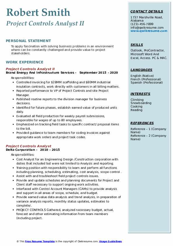 project controls analyst resume samples