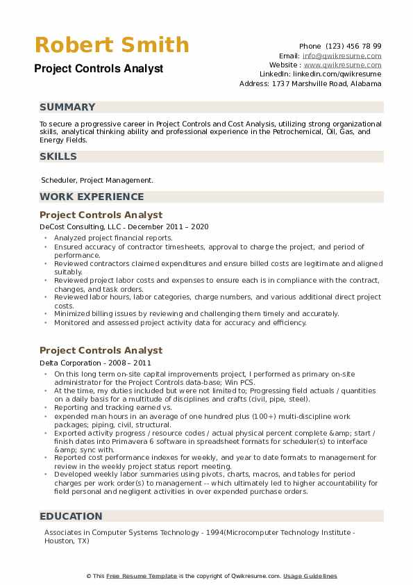 Project Controls Analyst Resume example