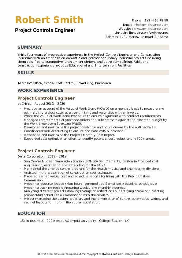 Project Controls Engineer Resume example