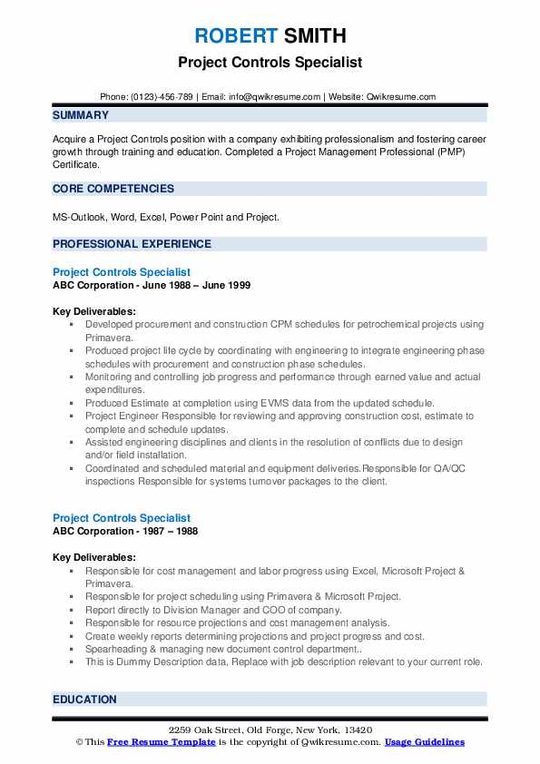 Project Controls Specialist Resume example