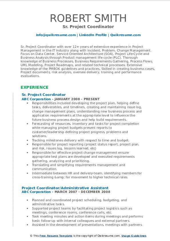 Sr. Project Coordinator Resume Example