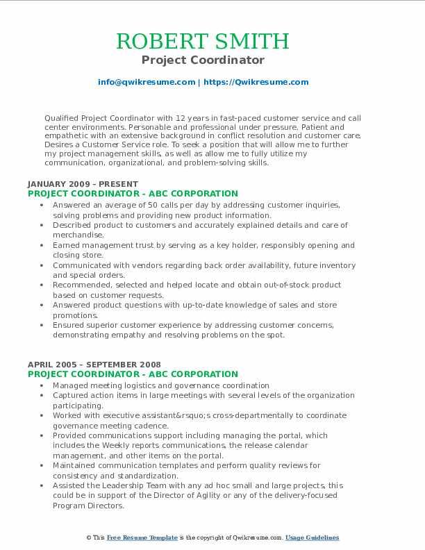 Project Coordinator Resume Format
