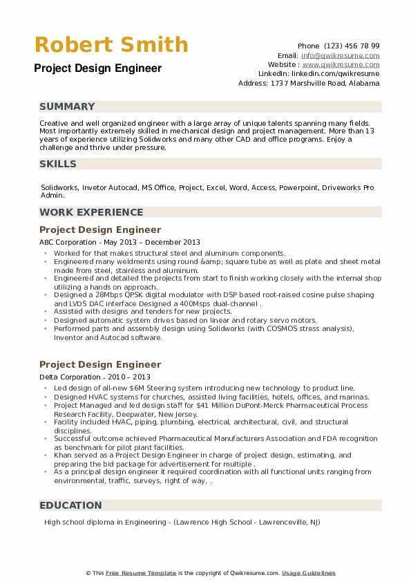 Project Design Engineer Resume Samples Qwikresume