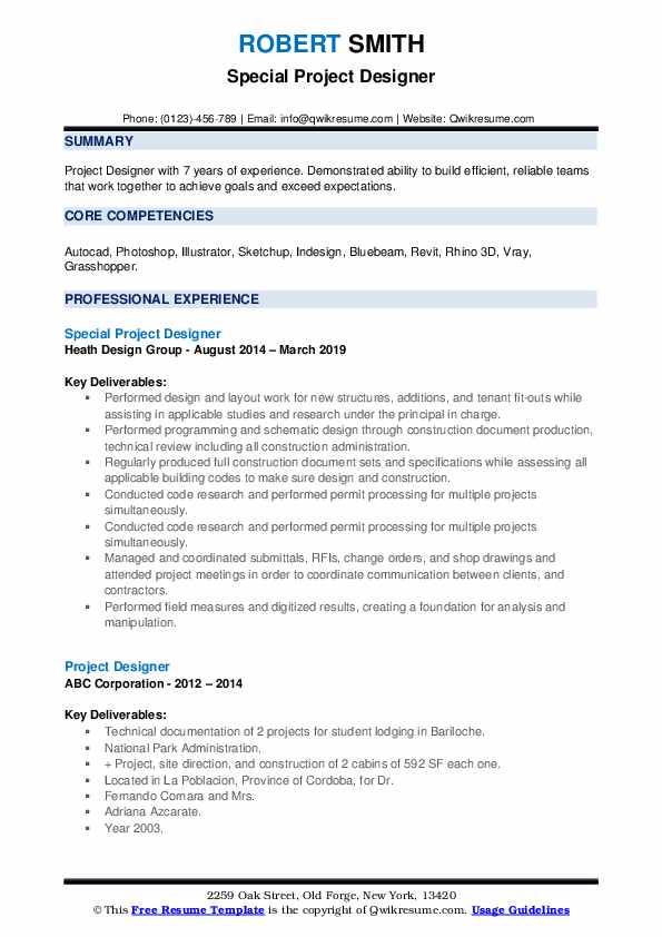 Special Project Designer Resume Model