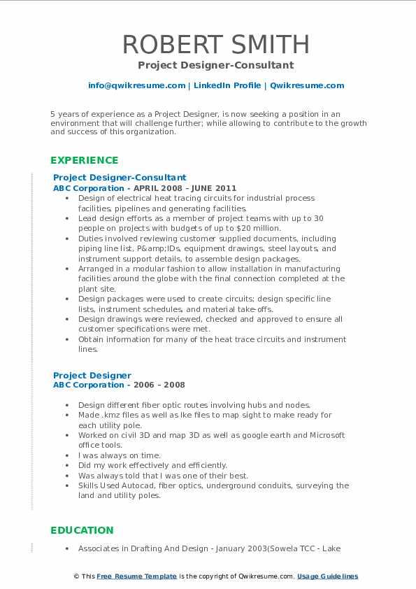 Project Designer-Consultant Resume Model