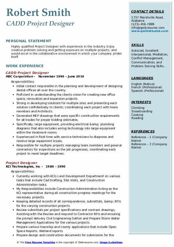 CADD Project Designer Resume Model