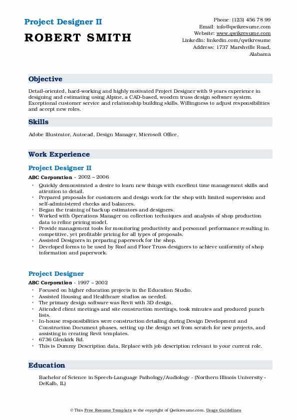 Project Designer II Resume Sample