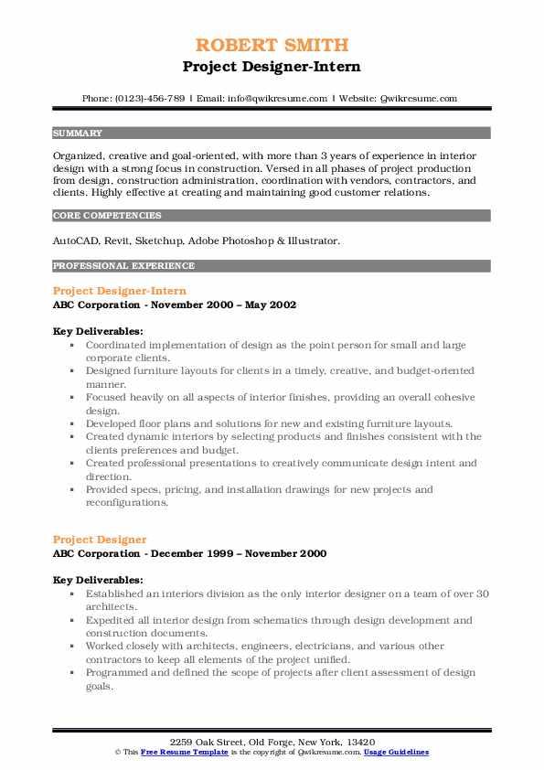 Project Designer-Intern Resume Example