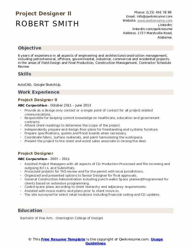 Project Designer II Resume Model