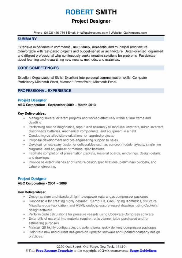 Project Designer Resume example