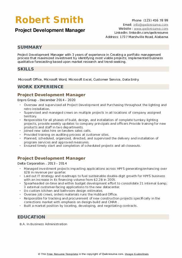 Project Development Manager Resume example