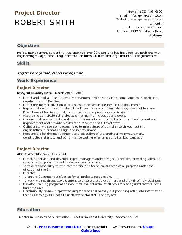 Project Director Resume Model