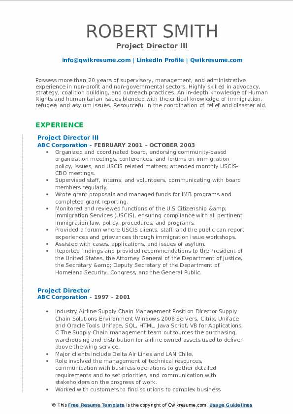 Project Director III Resume Sample