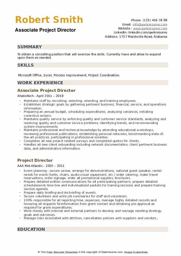 Associate Project Director Resume Format