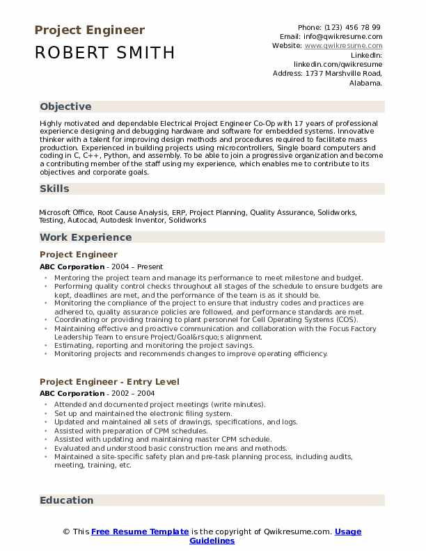 Project Engineer Resume Samples Qwikresume