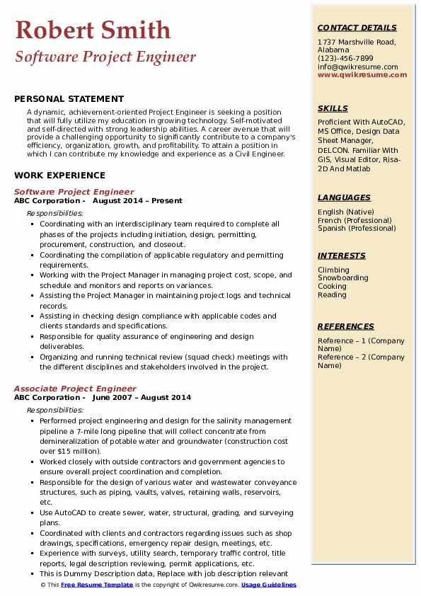 project engineer resume samples