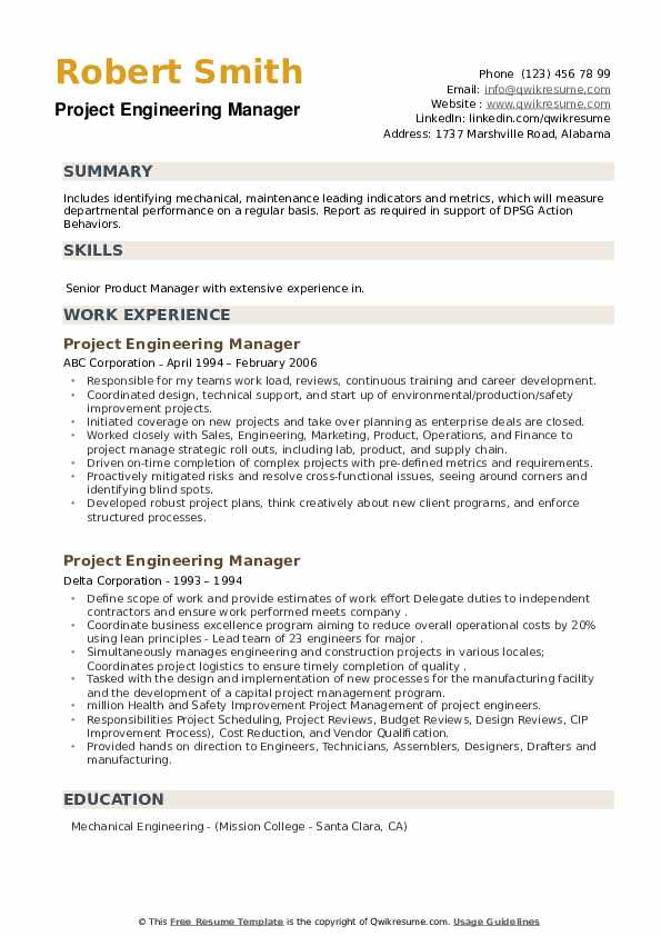 Project Engineering Manager Resume example