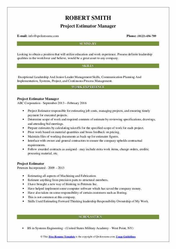 Project Estimator Manager Resume Format