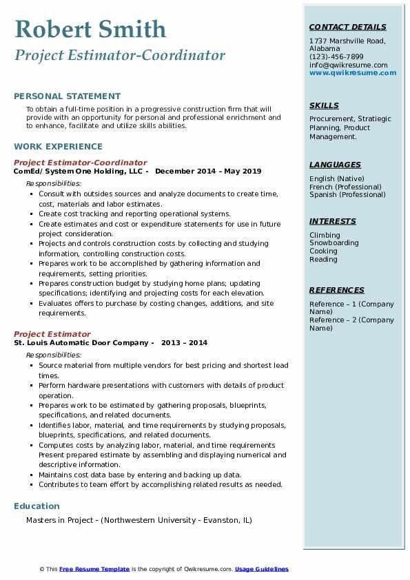 Project Estimator-Coordinator Resume Example
