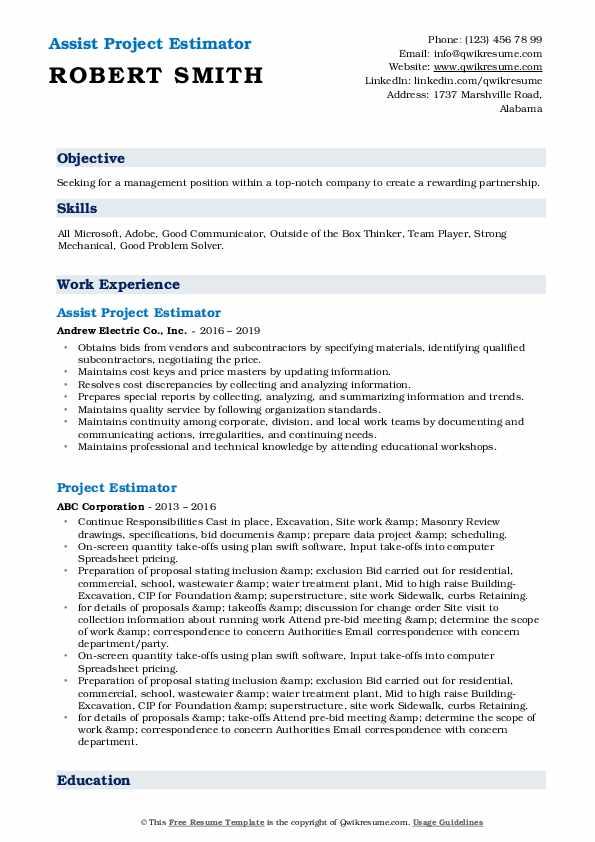 Assist Project Estimator Resume Sample