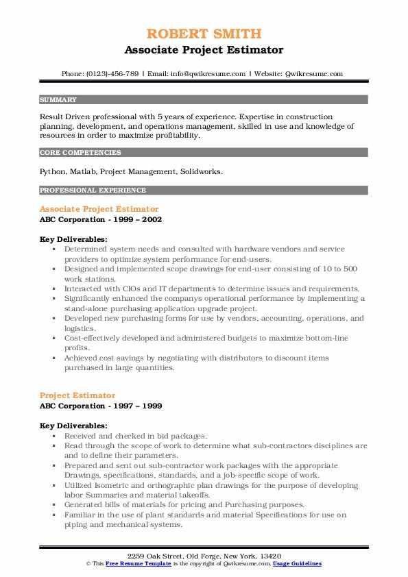 Associate Project Estimator Resume Example
