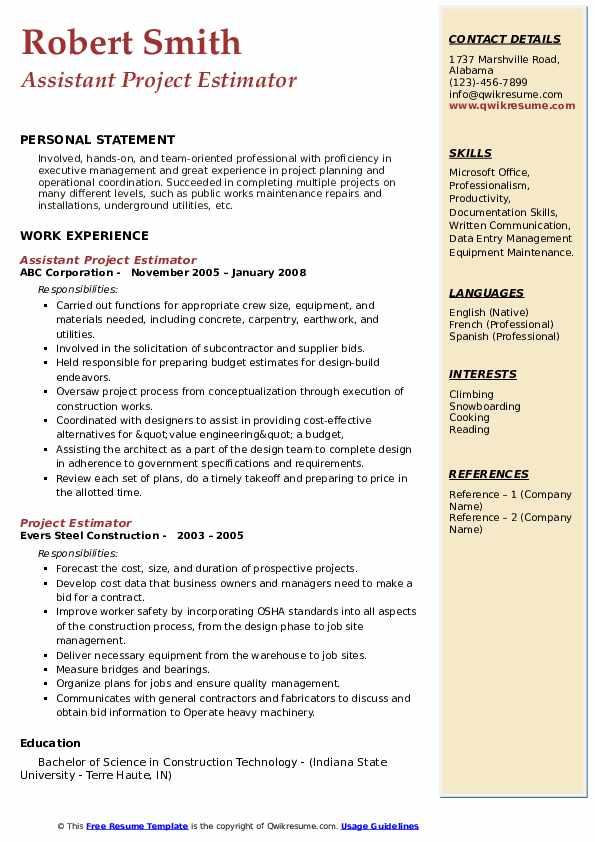 Assistant Project Estimator Resume Template