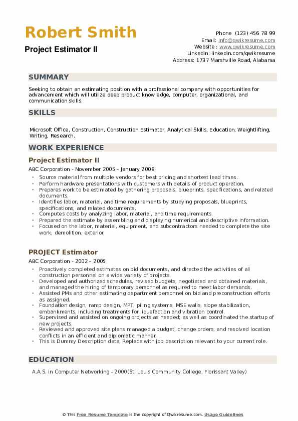 Project Estimator II Resume Sample