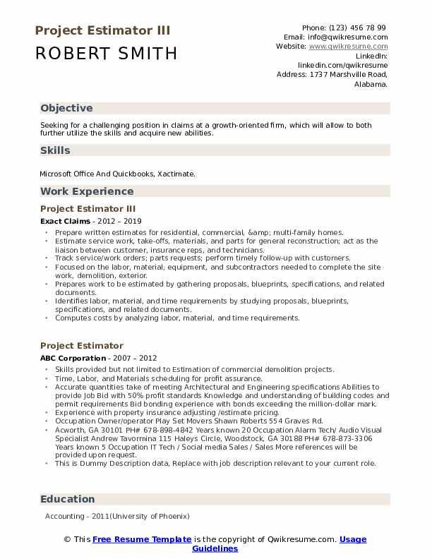 Project Estimator III Resume Template